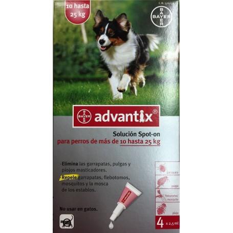 Pipetas Antiparasitarias Advantix para perros de 10 a 25 kg - 4 pipetas