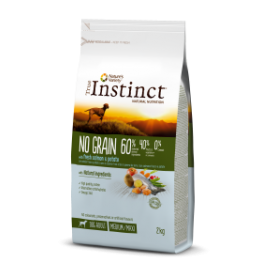 NO GRAIN CON SALMÓN Medium/Maxi – Adult 12 Kg - True Instinct