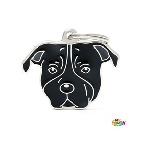 Placa Identificativa para American Staffordshire Terrier negro