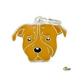 Placa Identificativa para American Staffordshire Terrier marrón