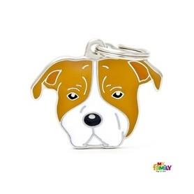 Placa Identificativa para American Staffordshire Terrier blanco marrón