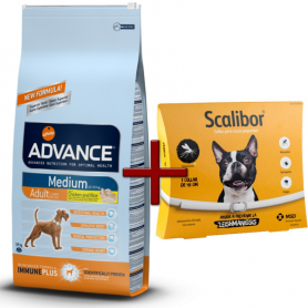 Pack: Advance Medium Adult 14 Kg + Scalibor Collar antiparasitario 48 cm