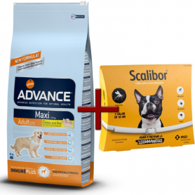 Pack: Advance Maxi Adult 14 Kg + Scalibor Collar antiparasitario 48 cm