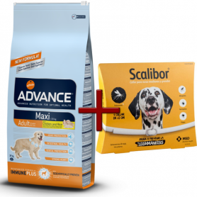 Pack: Advance Maxi Adult 14 KG + Scalibor Collar antiparasitario 65 cm
