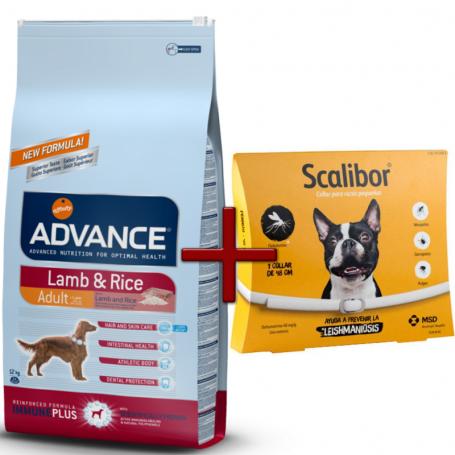 Pack: Advance Lamb And Rice 12 KG + Scalibor Collar antiparasitario 48 cm