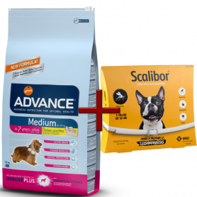 Pack: Advance Medium Senior (+7 años) 12 KG + Scalibor Collar antiparasitario 48 cm