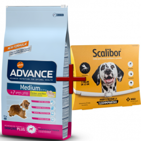 Pack: Advance Medium Senior (+7 años) 12 KG + Scalibor Collar antiparasitario 65 cm