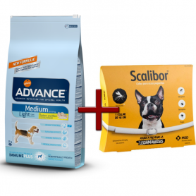 Pack: Advance Medium Light 12 KG + Scalibor Collar antiparasitario 48 cm