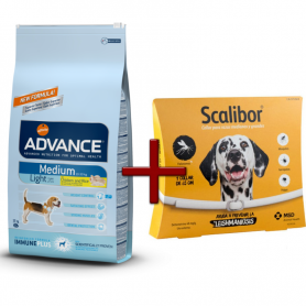 Pack: Advance Medium Light 12 KG + Scalibor Collar antiparasitario 65 cm