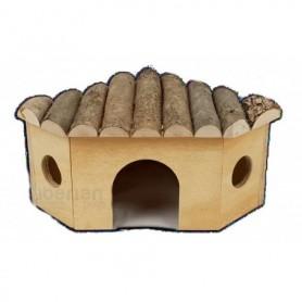 Caseta de madera para roedores esquina 5 lados - 29x21x13cm