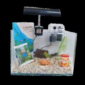 Conjunto Acuario Completo C/filtro Exterior Reflector Planta 11cm Ánfora Pequeña 23l 40X23X25cm