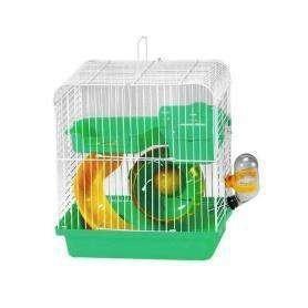 Jaula de Hamster pequeña ovalada con tobogán, casa, rueda y bebedero 23x17x24,5cm
