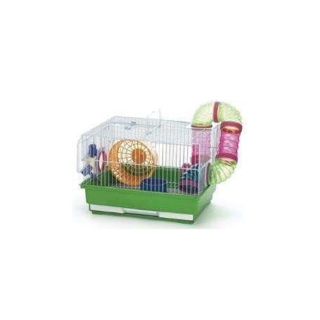 Jaula de Hamster cuadrada con circuito, rueda y bebedero 35x28x23cm