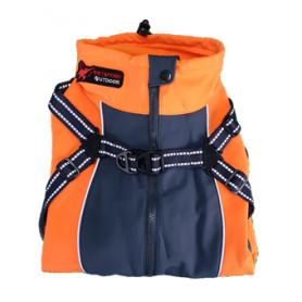 Abrigo naranja de Spandex con arnes y forro de lana (75cm)