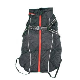 Abrigo negro de PolySoft con arnes y forro Sherpa (40cm)