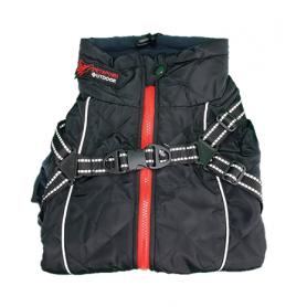 Abrigo negro de PolySoft con arnes y forro Sherpa (45cm)
