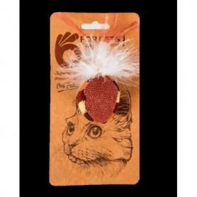 Blister Bola Marrón de tela con plumas blancas con Catnip para gatos
