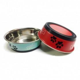 02 Comedero Antideslizante de Acero Inox. Rojo y Azul 14cm/550ml