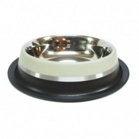 04 Comedero Antideslizante de Acero Inox. Marrón 17cm/700ml